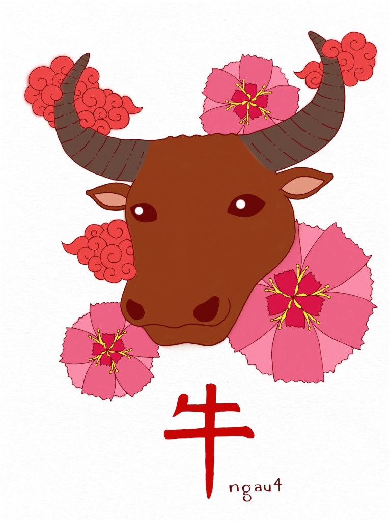 """Joey's illustration of an ox head with red flowers in the background, and the Chinese character for """"cow"""" at the bottom."""